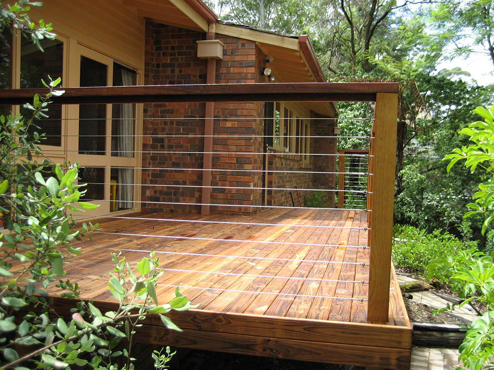 Wire railing for deck joy studio design gallery best for Hardwood timber decking